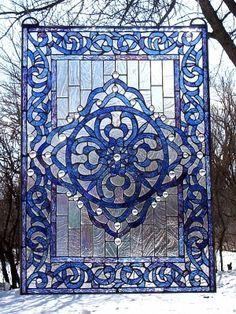 Celtic beautiful stained glass windows Photo | CELTIC BRICK WALL CAROLINA BLUE Stained Glass Window TU-6
