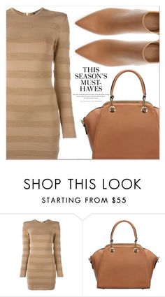 """Beige Motion"" by lucky-1990 ❤ liked on Polyvore featuring Balmain, Zara and H&M"