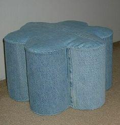 Denim footstool by Regina Landis