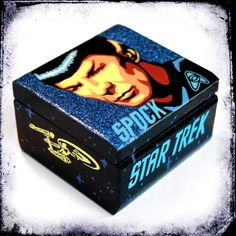 Spock Star Trek gift - glitter jewelry box  handmade small painted wooden box ringbox trinket box home decor collectors blue (30.00 EUR) by MadTwinsArt