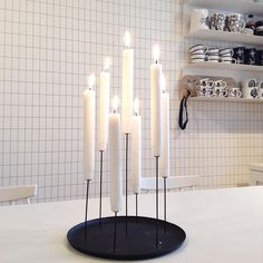 Multi candle pin by Eno Studio, design by Sebastian Bergne ■ Wallpaper / tapetti Ferm Living Grid