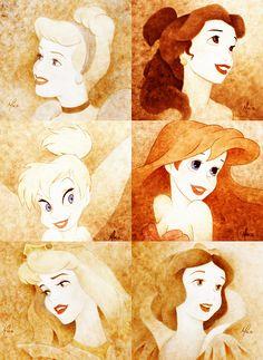 Cinderella,Belle,Ariel,Snow White,Aurora & Tinkerbell
