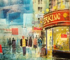 """Mike Bernard ~ """"The West End"""" ~ mixed media"""