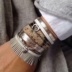earthy bracelets, Neutral stack bracelets http://www.justtrendygirls.com/neutral-stack-bracelets/