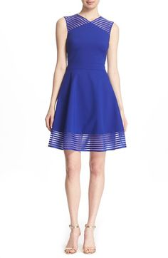 Ted Baker London 'Eleese' Mesh Stripe Fit & Flare Dress available at #Nordstrom