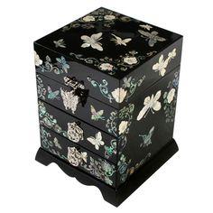 Jewelry box with peony Square jewelry box Accessories storage Jewelry box Keepsake box