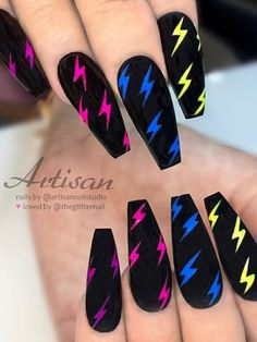 Matte Black with Colorful Neon Lightning Bolts on long Coffin Nails – neon nail art Acrylic Nails Coffin Short, Summer Acrylic Nails, Best Acrylic Nails, Black Matte Acrylic Nails, Coffin Nails Matte, Edgy Nails, Swag Nails, Edgy Nail Art, Neon Nail Art