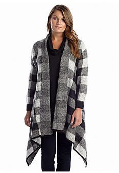 New Directions® Plus Size Checkered Cascade Open Front Cardigan