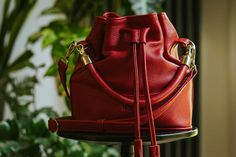 Red Bucket Bag Bucket Bag Leather Bucket RED bag Red | Etsy
