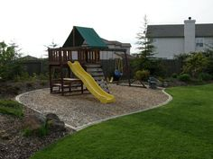 Mow strip around swingset - this is what I have been wanting to do