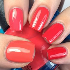 Polish Etc. (OPI) Thumb – Can't Afjord Not to Index – Live.Love.Carnival Middle – Aloha From OPI Ring – Cajun Shrimp Pinky – Coca-Cola Red