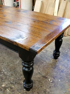 Pine Farmhouse Table with Options - Black over Red Base