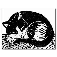 Sleeping Tuxedo Cat Postcard; Abigail Davidson Art