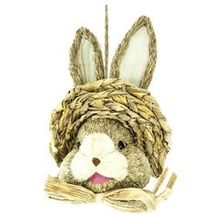 """Sisal Bunny Head with Hat Size: 13"""" Whimsical rabbit head made of sisal and decorated with a hat and bow.  Arriving soon!"""