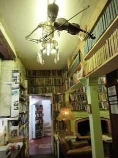Did this poor chap die up there playing the violin? -The Book shop in Wigtown-