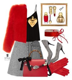 """""""With red"""" by tatjanasega on Polyvore featuring J.W. Anderson, Raey, Gizelle Renee, Gucci, Alexander McQueen and Christian Dior"""