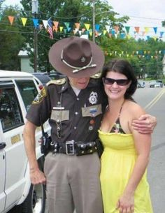 Officer Boobstare Reporting For Duty In This Picture: Photo of officer looking at womans rack