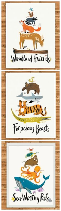Adorable prints for a nursery or kids room. Printed with archival-quality inks.
