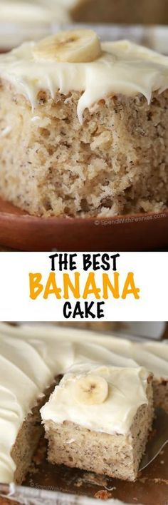 This is, hands down, the BEST banana cake I've b . It's soft, fluffy, moist and rich all at the same time! Once cooled this cake is topped with a totally irresistible lemon cream cheese frosting for a perfect dessert your family will love. Just Desserts, Delicious Desserts, Yummy Food, Healthy Desserts, Desserts With Bananas, Baking With Bananas, Desserts With Cream Cheese, Yellow Desserts, Cream Cheese Recipes