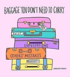Some days, we carry around our emotional baggage every where we go. The baggage of guilt, negativity, and the expectations of others are not ours to carry. Gently examine what's in your suitcase today and unload that extra weight holding you down. Motivacional Quotes, Life Quotes, Stress Management, Image Positive, Affirmations, Mental Health Quotes, Mental Health Stigma, Coping Skills, Stress Relief