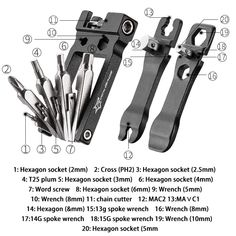 TYPE: 16 in 1 Repair Tool Sets, SIZE: About 90*40*25mm & 90*44*25mm, FUNCTION: Hex Spoke Wrench,Screwdriver Repair Tool, COLOR: Black, WEIGHT: 222g, MATERIAL: Galvanized Carbon Steel Bicycle Tools, Phillips Screwdriver, Tool Steel, Aluminium Alloy, Tool Kit, Color Black, Metal