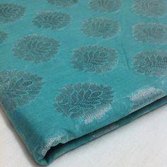 Indian Fabric  Sea green and Silver  Chanderi Silk by DesiFabrics, $4.00