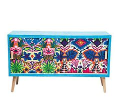 COLORS of the exotic: cabinet with 2 doors in pine and patchwork fabric moon - 120x70x40 cm