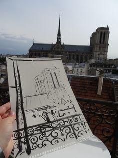 Farewell #drawing by #zoiaskoropadenko from @Paris #withlove @CathédraleNotre-Dame de Paris.