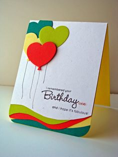 card with balloons heart shaped ballon You've Been Spotted - MFT Color Challenges 13 & 14 Carolynn Bday Cards, Kids Birthday Cards, Handmade Birthday Cards, 13 Birthday, Cadeau Design, Cards For Friends, Pretty Cards, Card Maker, Scrapbook Cards