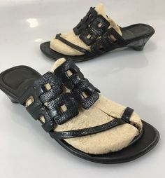 "Think! Womens 38 EU 7.5 US Black Leather Thong Slides Sandals 1.5"" Heels #Think #Slides #Casual"