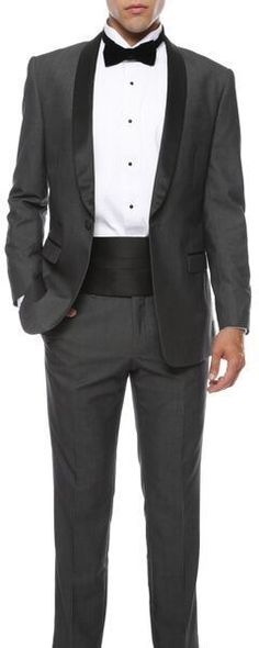 Slim Fit Tuxedo Shawl colar flat front trousers elegance 1 button Gray black #OneButton