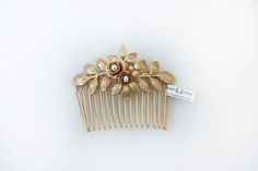 Amber Flower Comb 2 Bridal Hair Accessories Gold by avigailadam