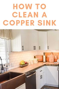 How to Clean a Copper Farmhouse Sink Black Kitchen Faucets, Copper Kitchen, Kitchen Sink, Modern Farmhouse Decor, Farmhouse Kitchen Decor, Copper Faucet, Copper Farmhouse Sinks, How To Clean Copper, House Cleaning Tips