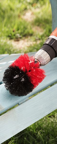 These scrubbing brush heads fit onto a power drill to do the job faster and easier. There are different heads suited for the tub, carpet, patio furniture and more.