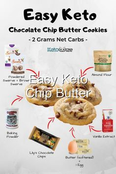 Cookie Diet, Keto Chocolate Chip Cookies, Keto Dessert Easy, Recipe Using, Almond Flour, Cookie Dough, Ketogenic Diet, Low Carb Recipes, Easy Meals