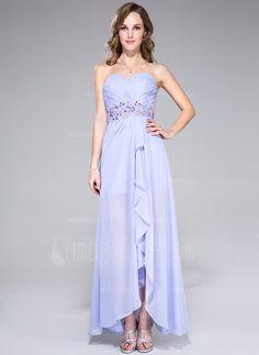 Fancy - A-Line/Princess Sweetheart Asymmetrical Chiffon Prom Dress With Lace Beading Sequins Cascading Ruffles (018042688) - AmorModa