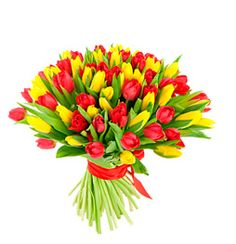 red and yellow tulips bouquet