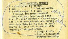 The Vintage Recipe Project Fruit Cocktail Pudding Cake Flour On My Face Retro Recipes, Old Recipes, Fruit Recipes, Dessert Recipes, Cooking Recipes, Blender Recipes, Picnic Recipes, Baking Desserts, Health Desserts