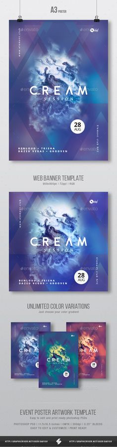 Progressive abstract electronic music party flyer & web banner artwork template