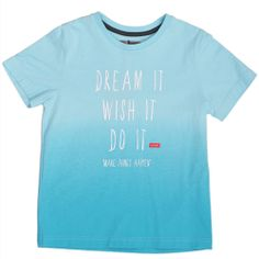 Turquoise T-Shirt designed by Jean Bourget. Features ombre color and white lettering.