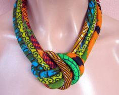 African Fashion fabric bib necklace african wax golden by nad205