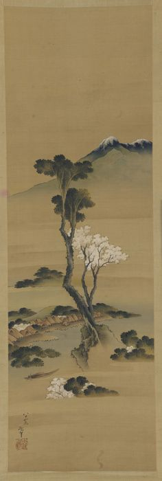 River-landscape: village and tall trees 19th century  Katsushika Hokusai , (Japanese, 1760-1849) Edo period