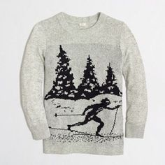 New J. Crew Ski Sweater J. Crew Ski Sweater new with tags, size XS. The intarsia pattern is knit into the fabric (instead of on top) for a smoother finish. Viscose/nylon/merino wool. Three-quarter sleeves. Hits at hip. Hand wash. J. Crew Sweaters Crew & Scoop Necks
