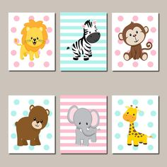 JUNGLE ANIMALS Nursery Wall Art Jungle Nursery Pink Grey Baby Girl Elephant Giraffe Zebra Safari Animals Pink Gray Set of 6 Prints Or Canvas - Choose Your Background And Colors!  ★Includes 6 pieces of wall art Available in PRINTS or CANVAS  ★SIZING OPTIONS Available from the drop down menu above the add to cart button with prices  ★PRINT OPTION Available sizes are 5x7, 8x10, & 11x14 (inches). Prints are created digitally and printed with UltraChrome Hi-Gloss ink on professional 68lb satin...