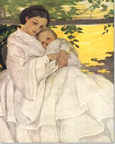 A Mother's Love. A mother cradles her child in this Jessie Willcox Smith Mother's Day greeting card from Laughing Elephant Mother's Day Greeting Cards, Holding Baby, Art For Art Sake, Love Painting, Mothers Love, Mother And Child, Beautiful Paintings, Jessie, Illustrators