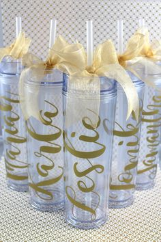 Skinny Personalized Tumbler - Wedding Party Acrylic Tall Tumbler - Party Favors…