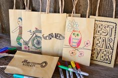 Make your own gift bags with #Sharpies and brown paper bags. #DIY #craft @Sarah Chintomby Chintomby Smith
