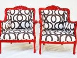 Shiny Red Chair frame with black and white fabric