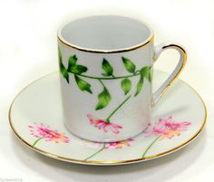 Set of 6 Espresso Cups + Saucers Turkish Coffee New Bone China Pink Daisy Chain #CoffeeMe