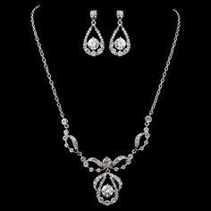 """Plus Size 23"""" long Rhodium Clear Round CZ & Rhinestone Jewelry Set 9448"""